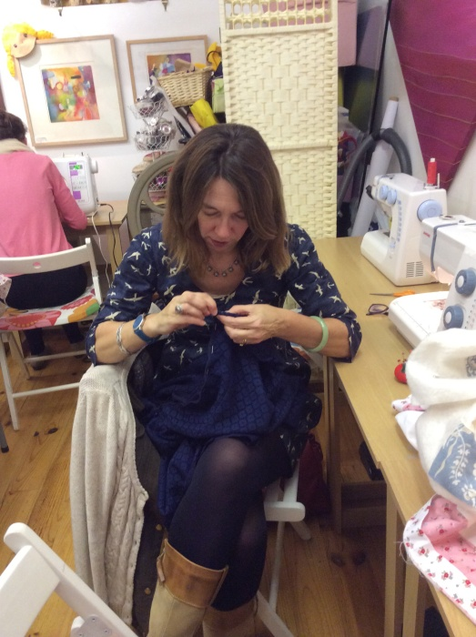 My concentration face - hand sewing the zip on the mammoth saga that is my lace dress