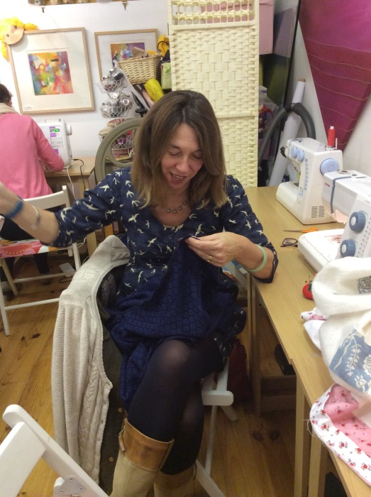 Finishing the dress at Sewing Club