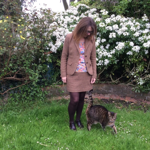 With Charlie, next door's cat