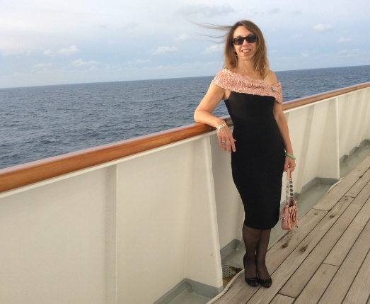 My 54th birthday - somewhere in the bay of Biscay. Dress from ENVY Arundel