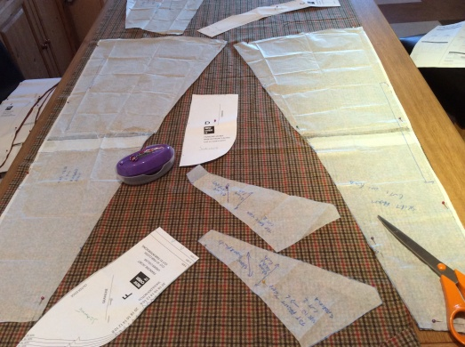 Francine jacket pieces cut from my Gabriola skirt fabric