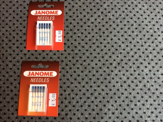 Needles and the only knit fabric I bought - just in case the overlocker and I don't become friends anytime soon